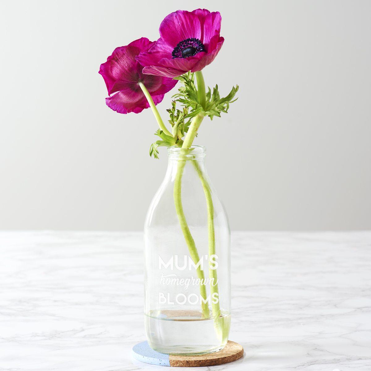 Personalised 'Homegrown Blooms' Milk Bottle Vase