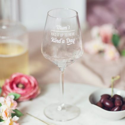 Personalised Had It Up To Here Wine Glass Lifestyle