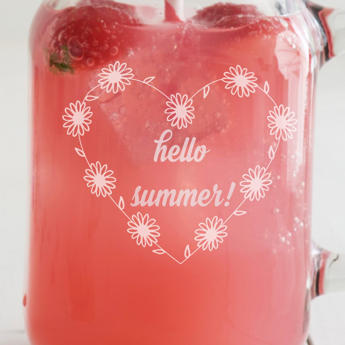 Personalised Daisy Heart Handled Drinking Jar