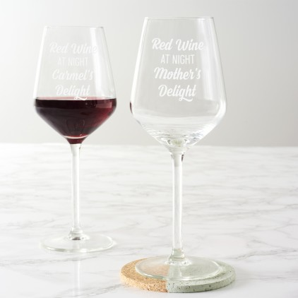 Personalised 'Red Wine At Night' Wine Glass