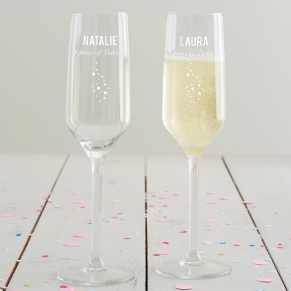 Personalised 'Queen Of Bubbles' Champagne Flute