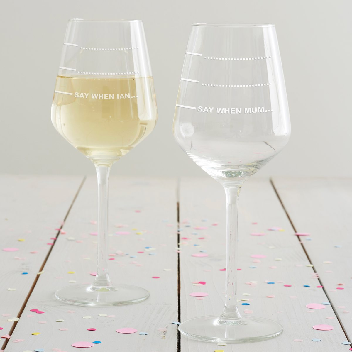 Personalised 'Say When' Wine Glass
