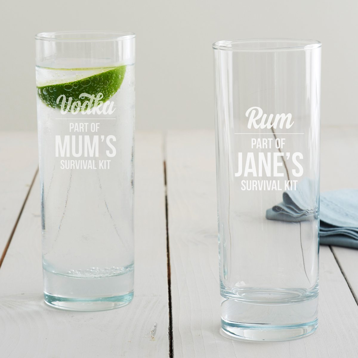 Personalised 'Survival Kit' Hi Ball Glass