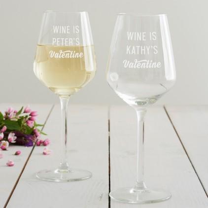 Personalised 'Wine Valentine' Wine Glass