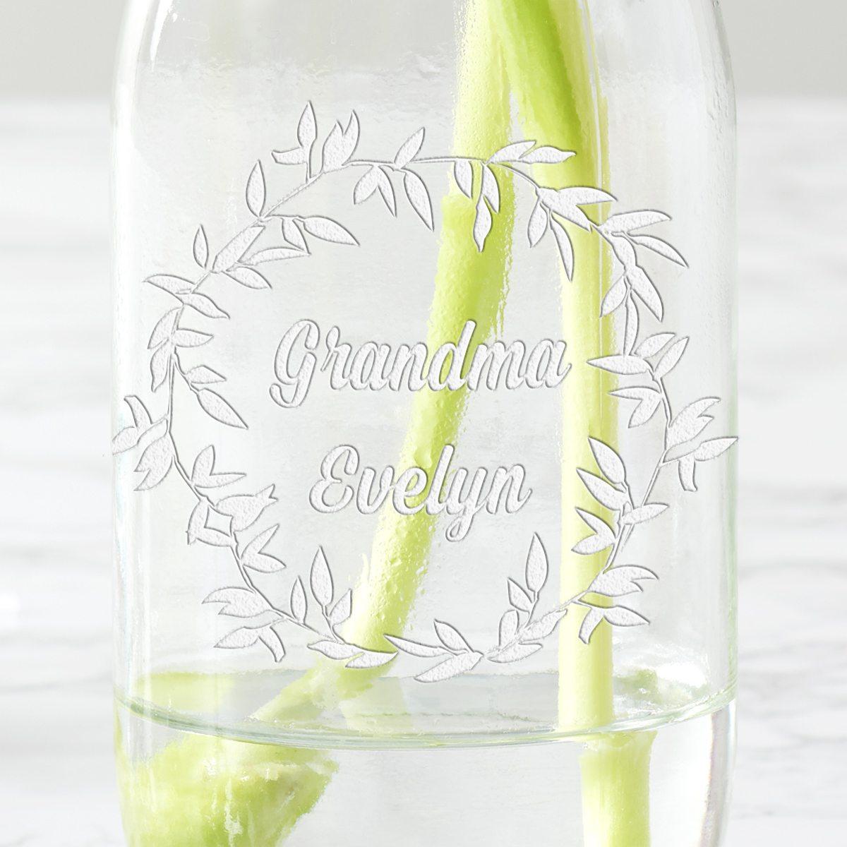Personalised Wreath Milk Bottle Vase