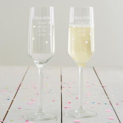 Personalised 'Written In The Stars' Champagne Flute Set