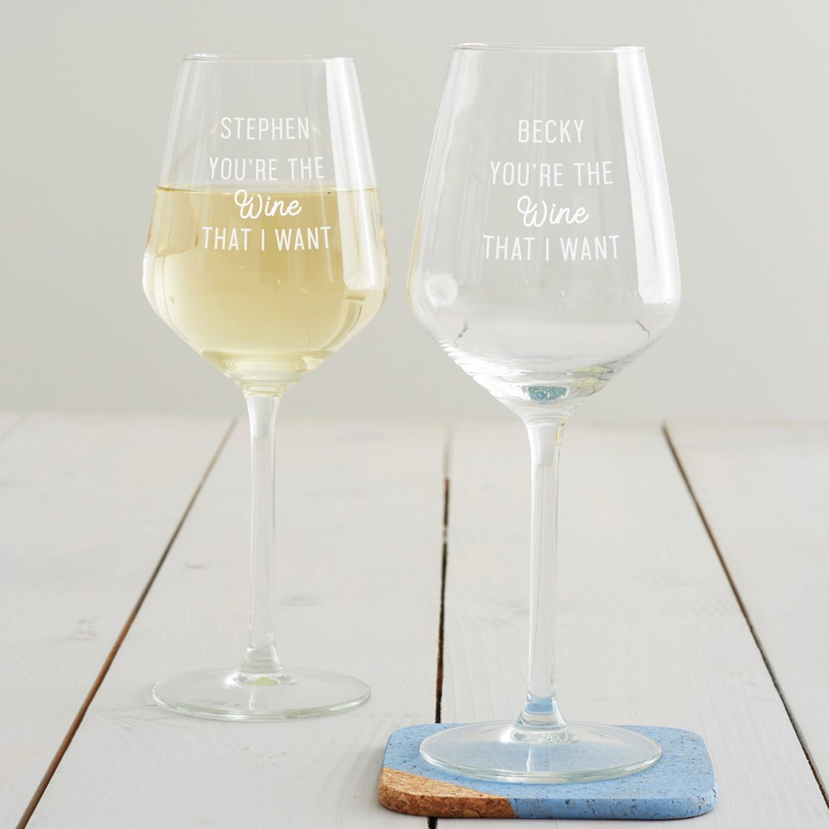 Personalised 'You're The Wine That I Want' Wine Glass