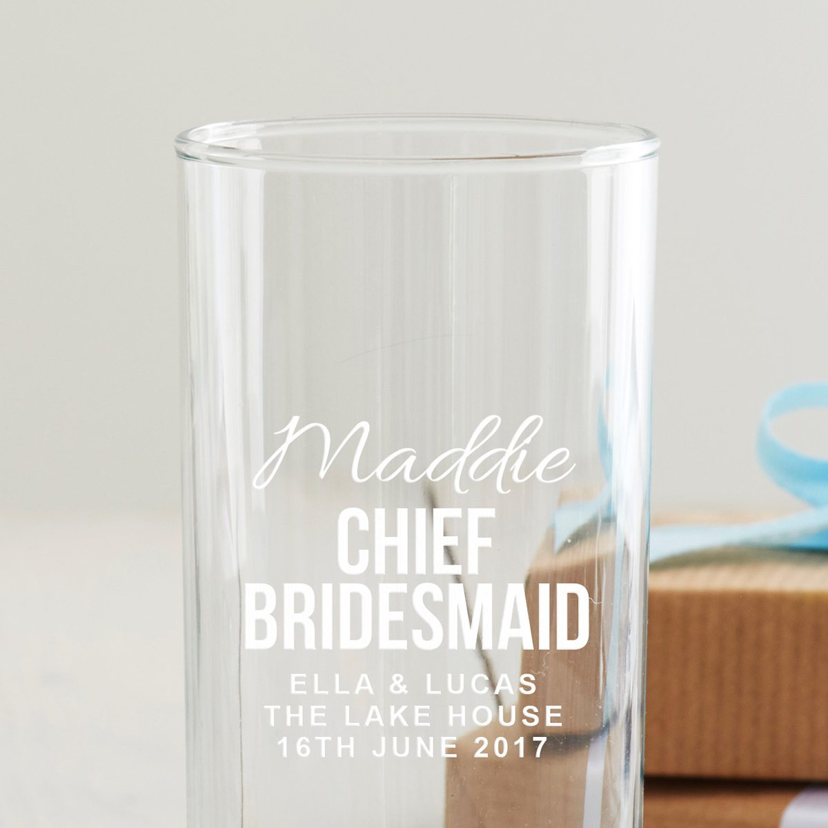 Personalised Chief Bridesmaid Hi Ball Glass