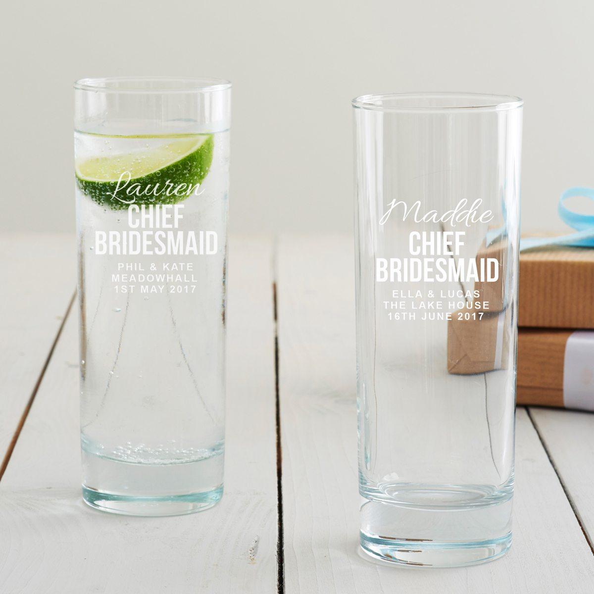 Personalised Chief Bridesmaid Hi Ball Glass