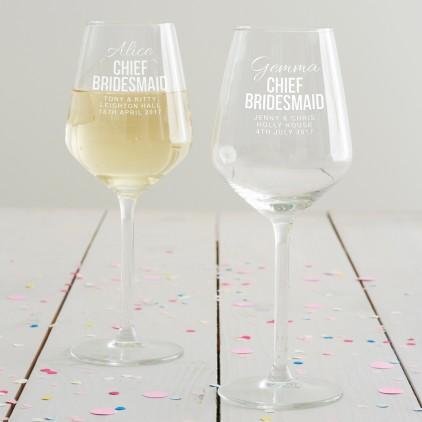 Personalised Chief Bridesmaid Wine Glass