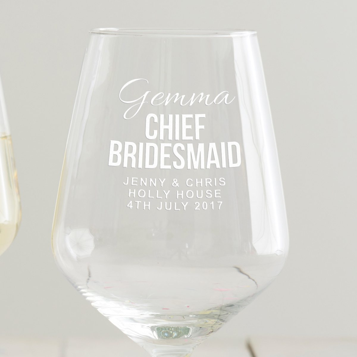 Personalised Chief Bridesmaid Wine Glass