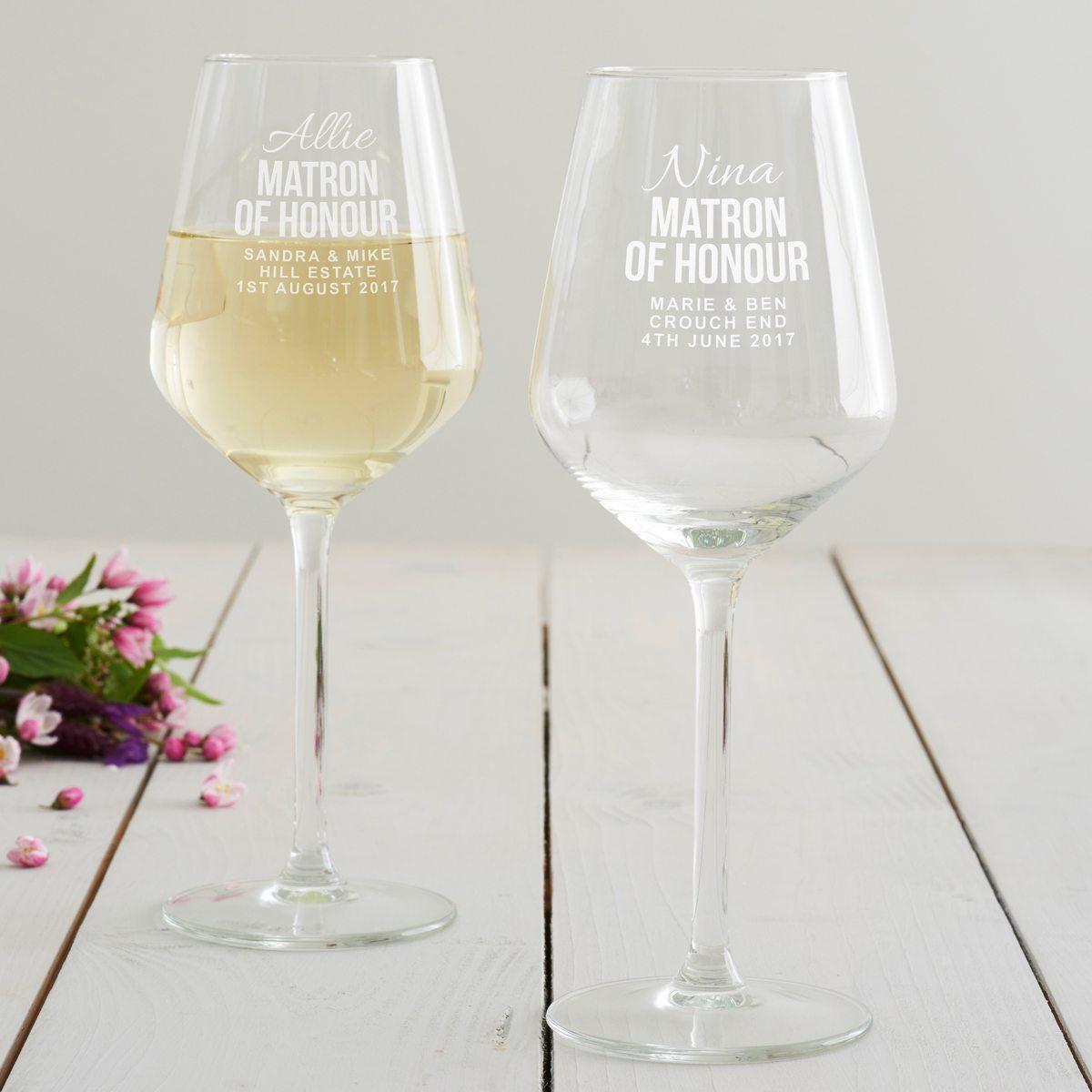 Personalised Matron Of Honour Wine Glass