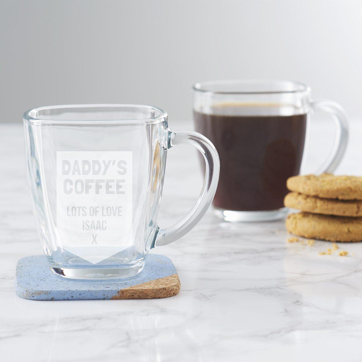 Personalised Glass Mug For Dad