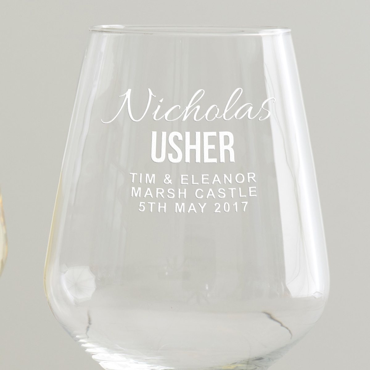 Personalised Usher Wine Glass
