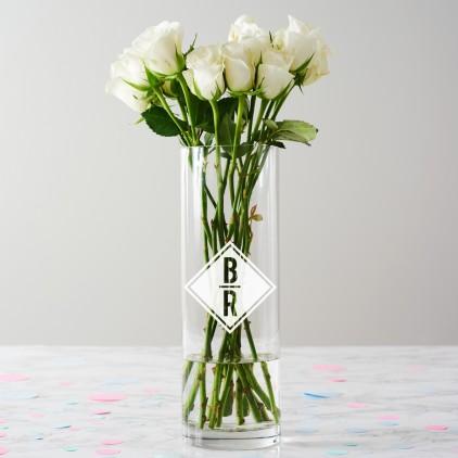 Personalised Diamond Initials Monogram Vase