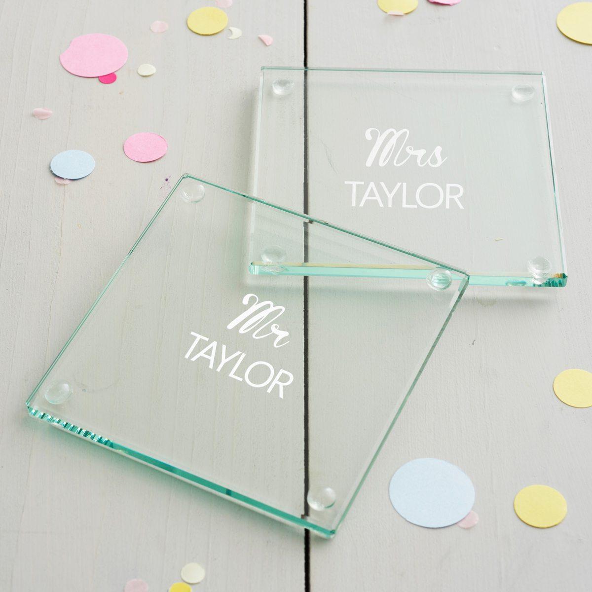 Personalised Mr And Mrs Wedding Coaster Set