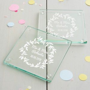 Personalised Wreath Wedding Coaster Set