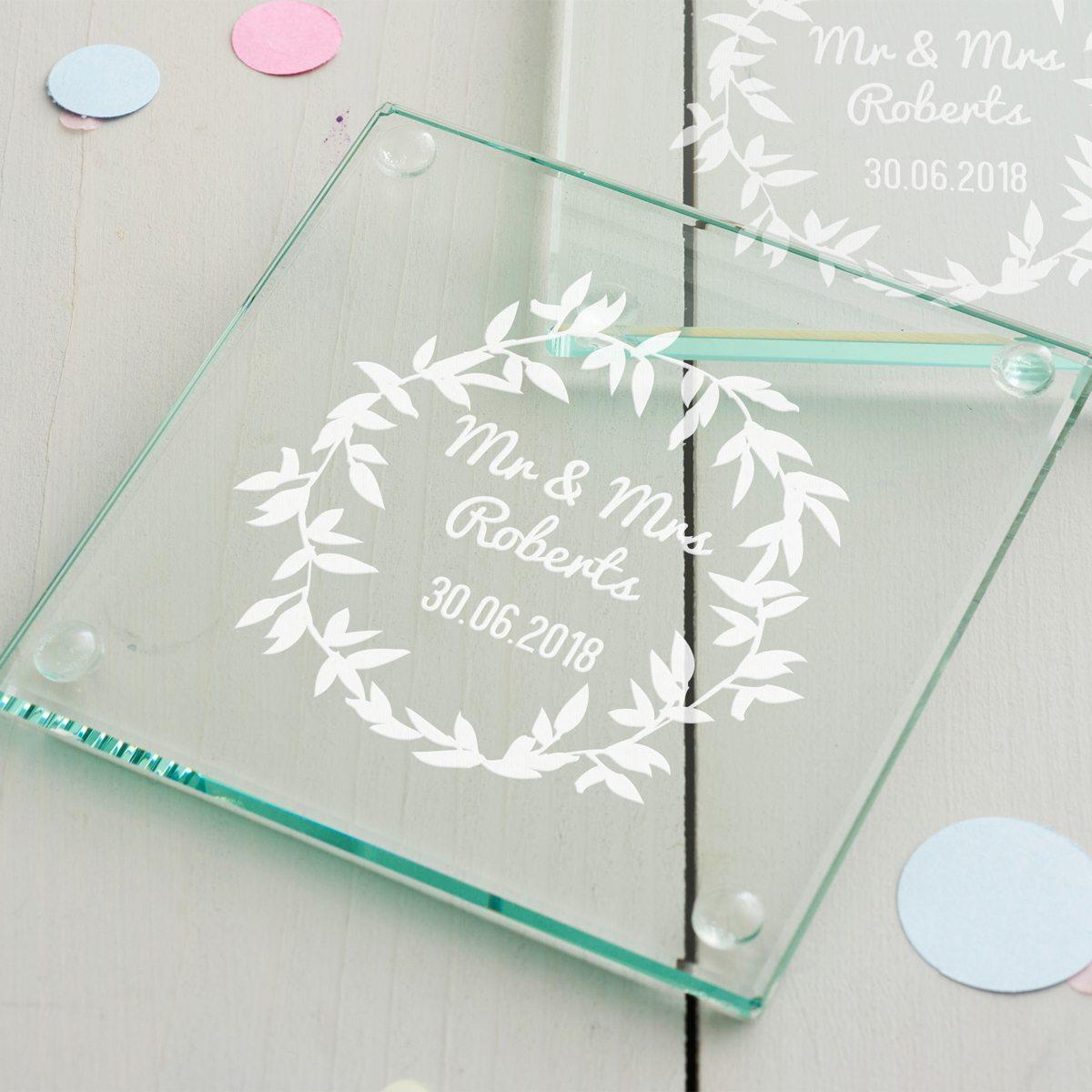 Personalised Wreath Wedding Coaster Set