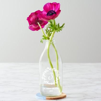 Personalised Wreath Wedding Milk Bottle Centrepiece