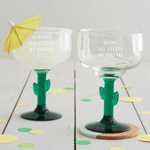 Personalised 'All Fiesta' Cactus Margarita Glass