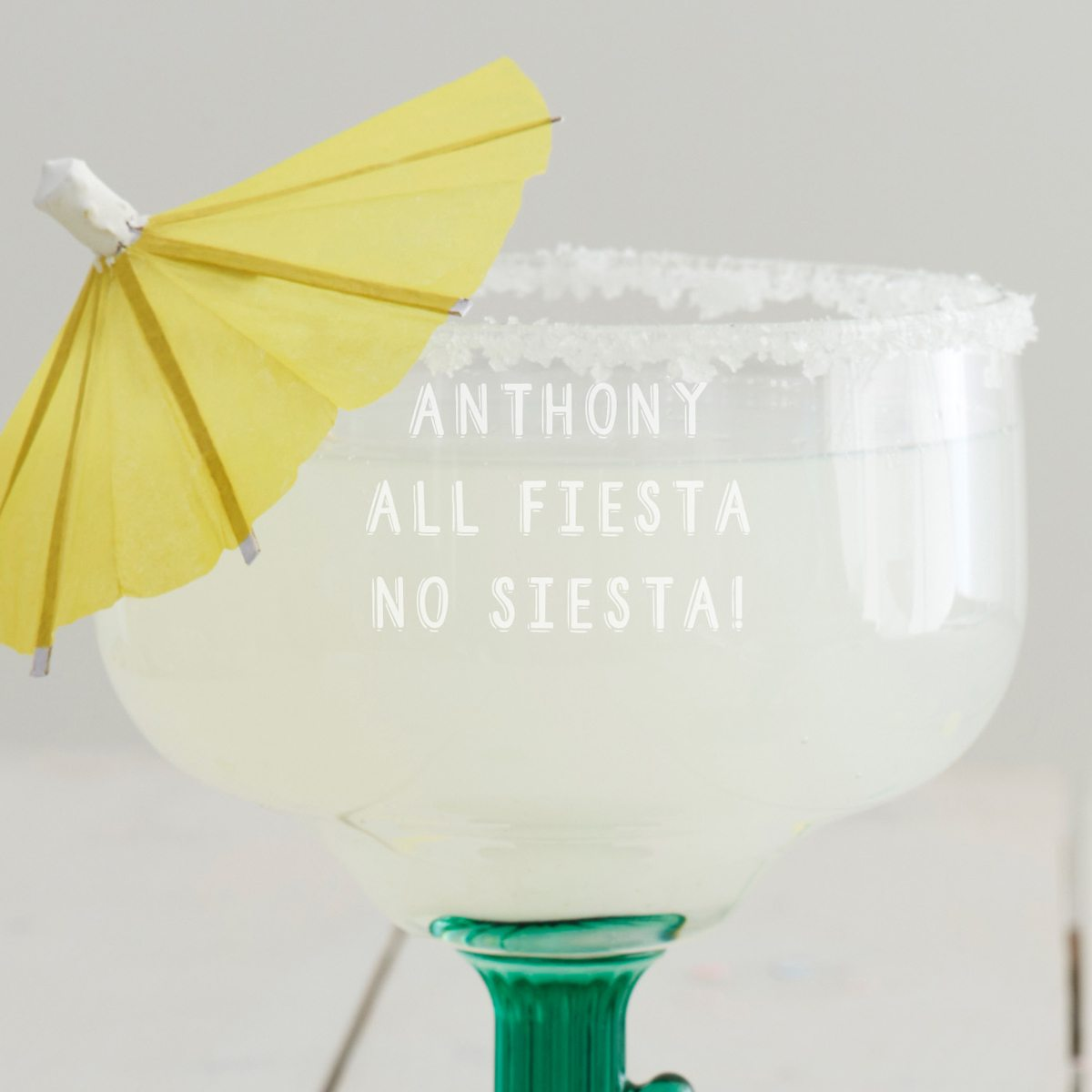 Personalised 'All Fiesta' Cactus Margarita Glass