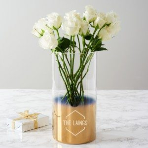 Personalised Famly Name Gold Ombre Vase