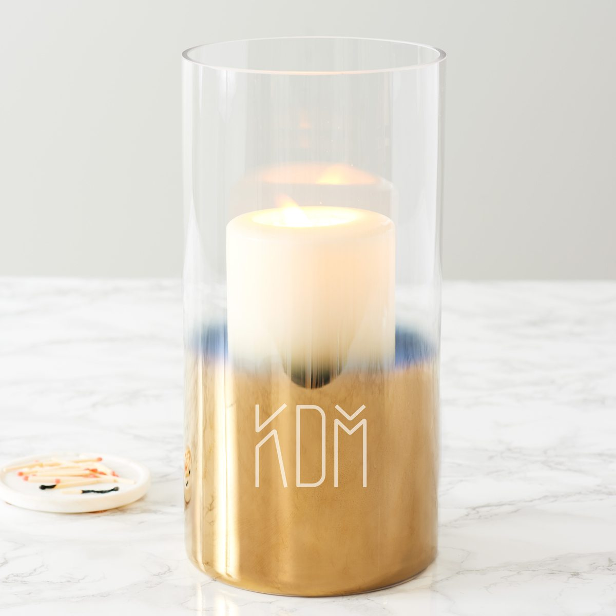 Personalised Initials Gold Ombre Candle Holder