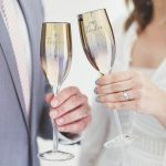 Personalised 'Mr And Mrs' Metallic Champagne Flute Set Lifestyle