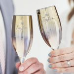 Personalised 'Mr And Mrs' Metallic Champagne Flute Set Lifestyle Detail