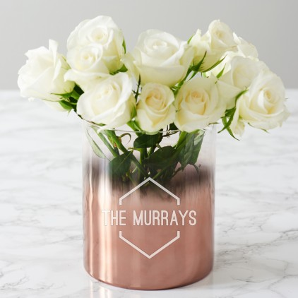 Personalised Family Name Copper Ombre Vase