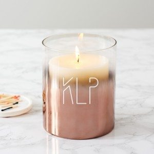 Personalised Initials Copper Ombre Candle Holder