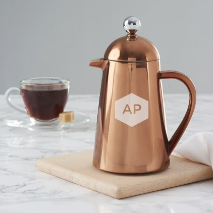 Personalised Geometric Copper Coffee Pot