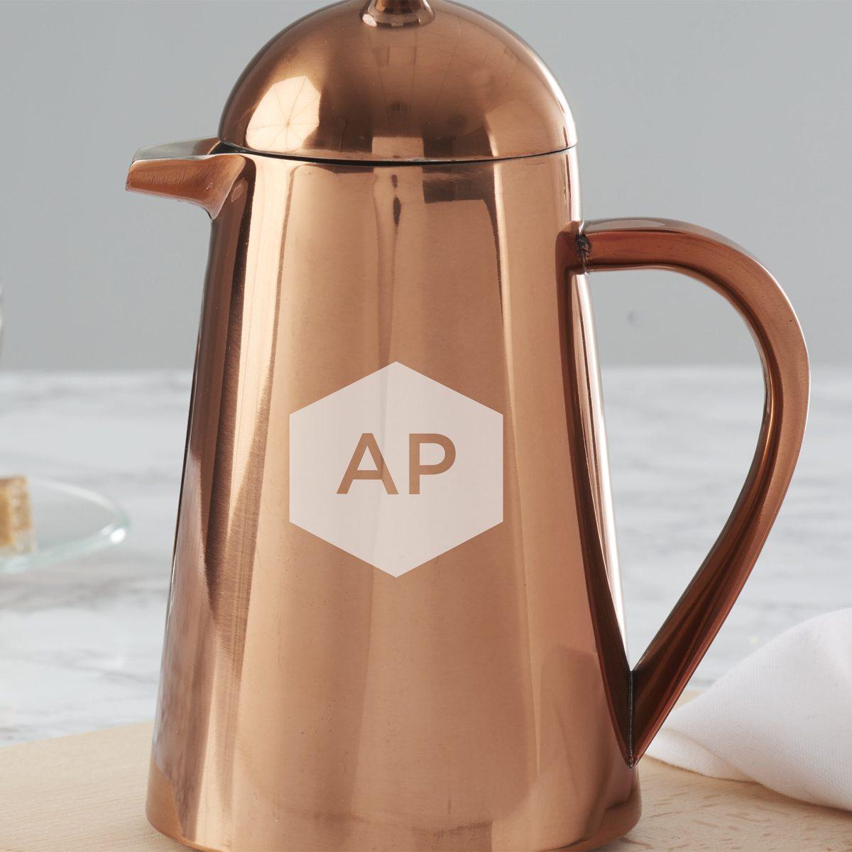 Personalised Geometric Copper Coffee Pot