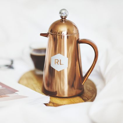 Personalised Geometric Copper Coffee Pot Lifestyle