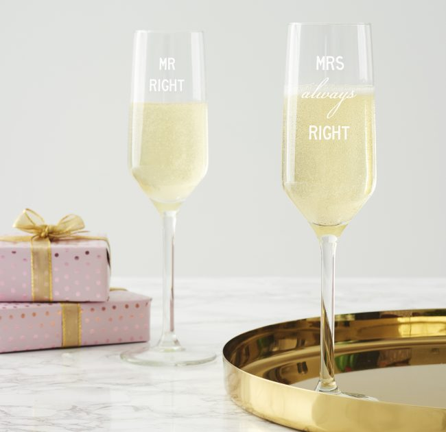 Mr And Mrs Right Champagne Flute Set