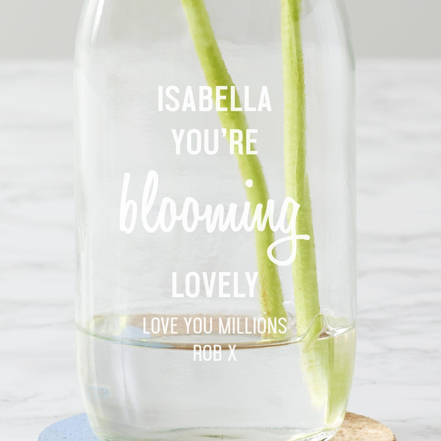 Personalised 'Blooming Lovely' Milk Bottle Vase