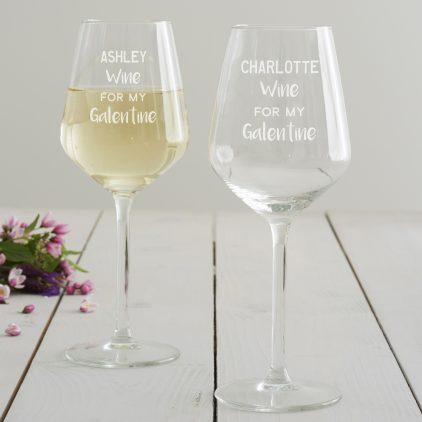 Personalised 'Galentine' Wine Glass