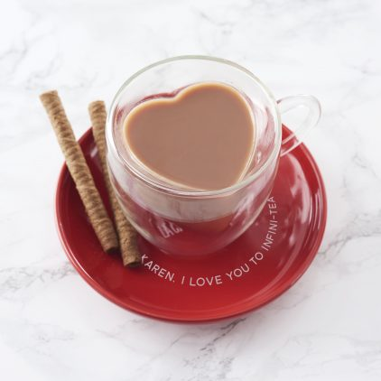 Personalised Heart Shaped Mug And Saucer