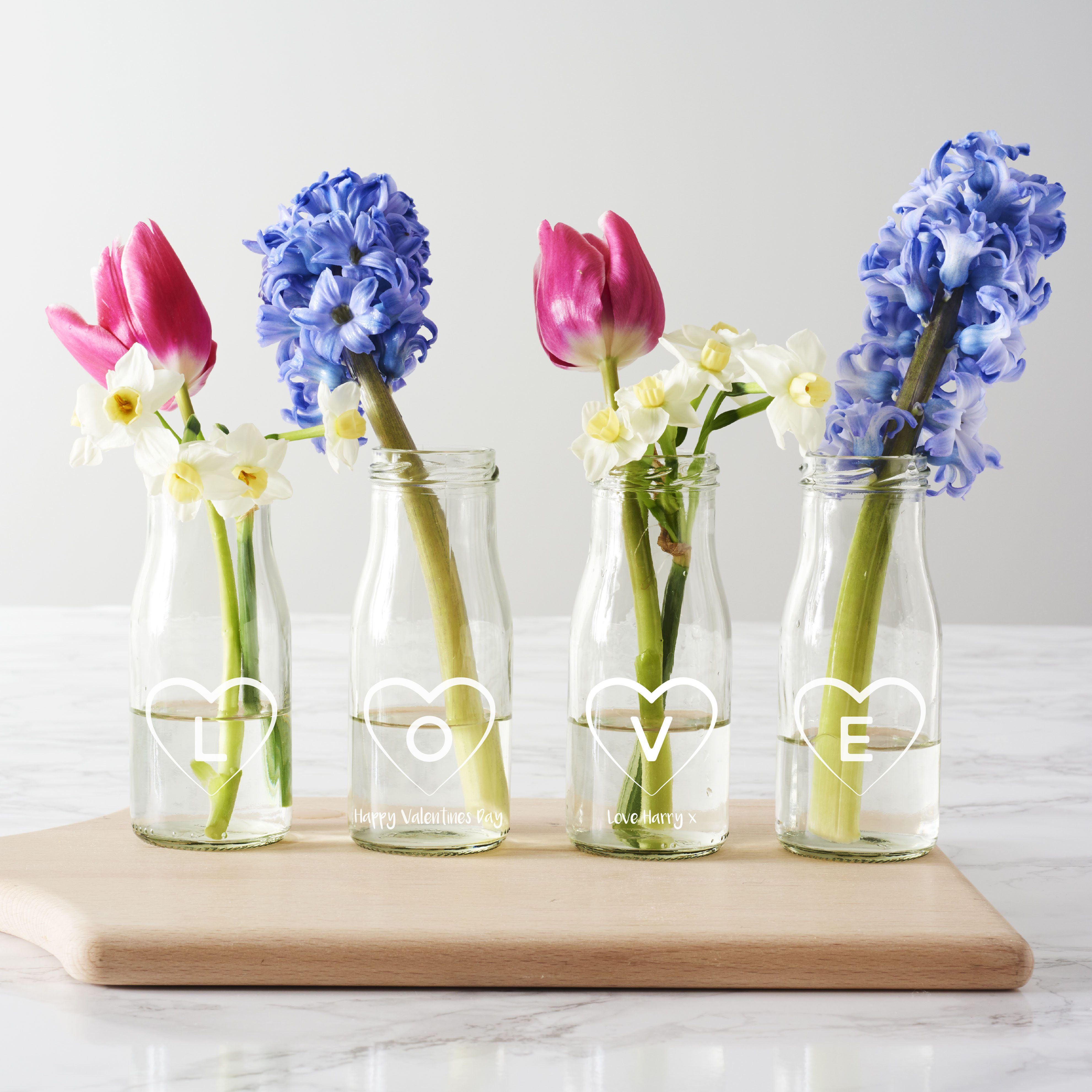 Personalised 'Love' Bottle Bud Vases