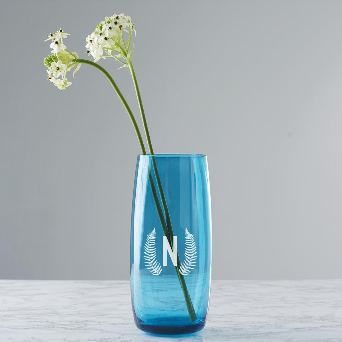 Personalised Botanical Initial Coloured Vase