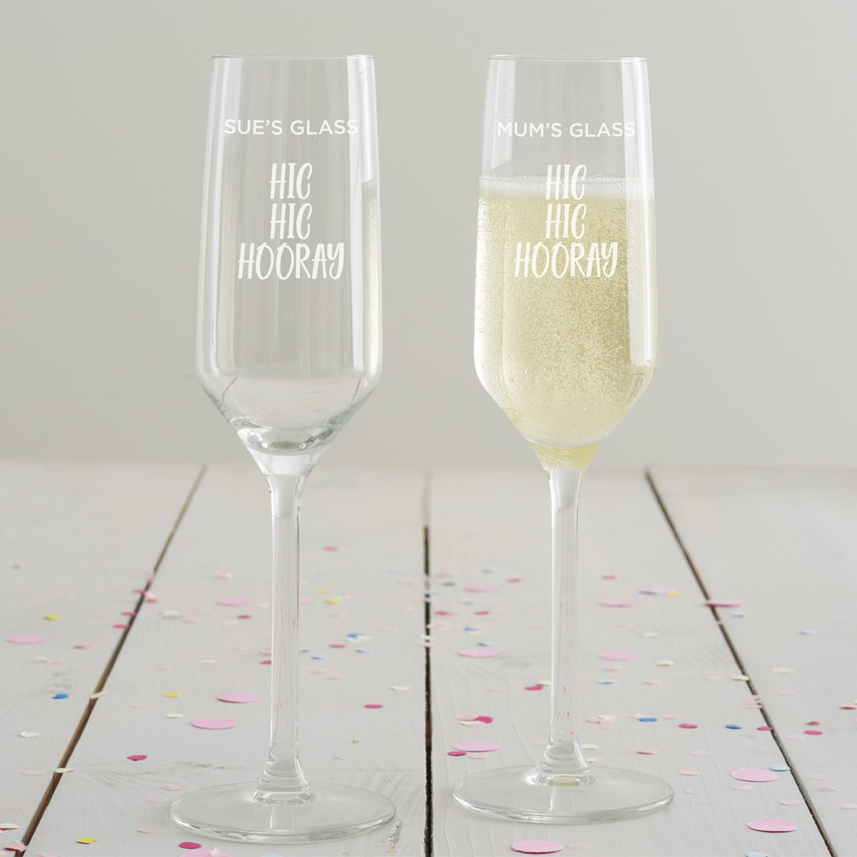 Personalised 'Hic Hic Hooray' Champagne Flute