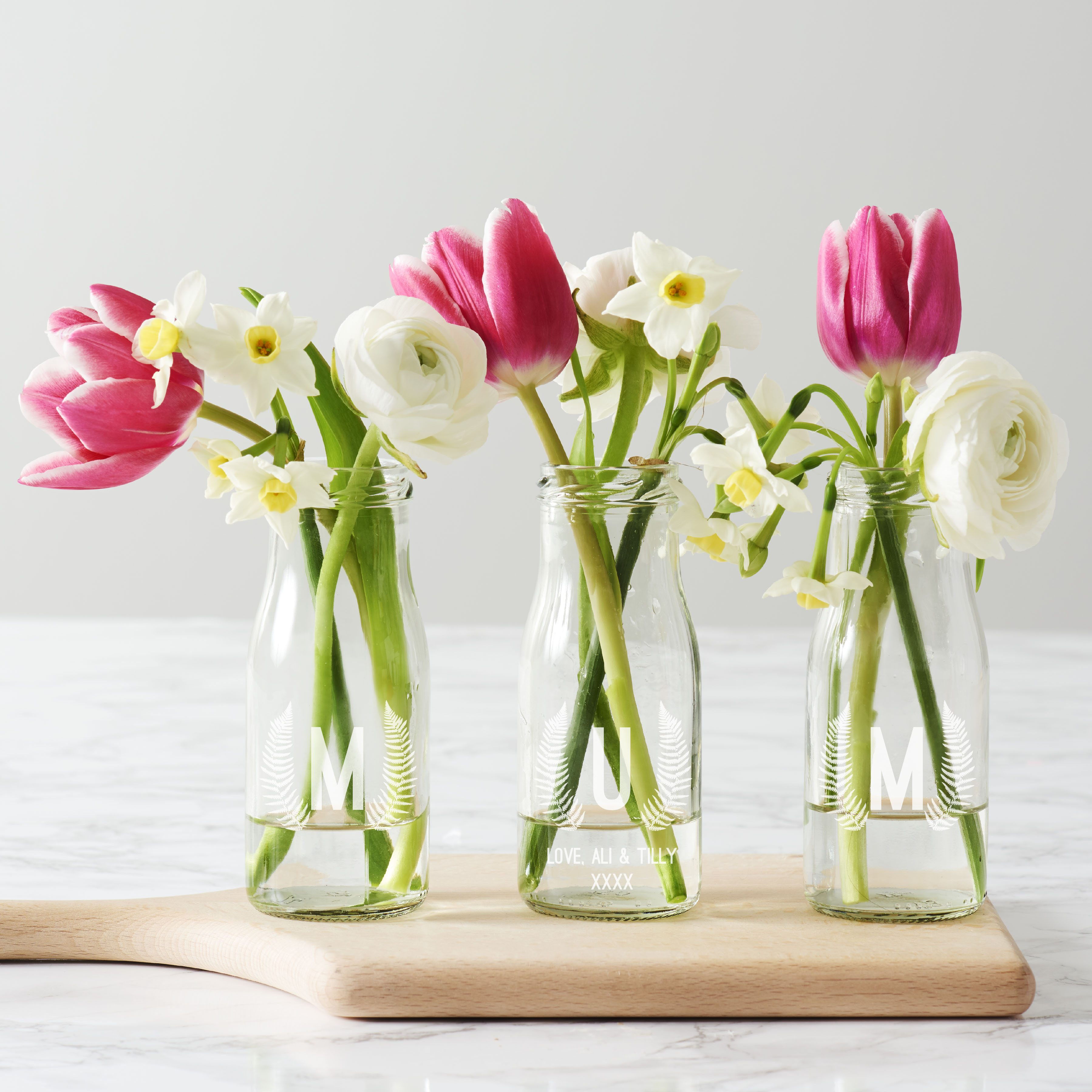 Personalised 'Mum' Botanical Bottle Bud Vases