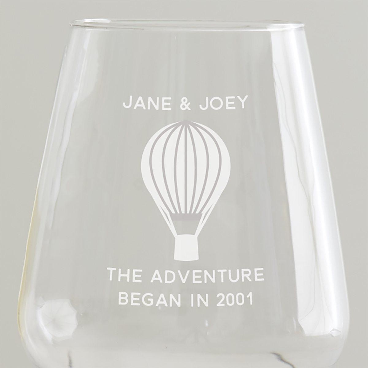 Personalised 'Adventure' Anniversary Wine Glass Set