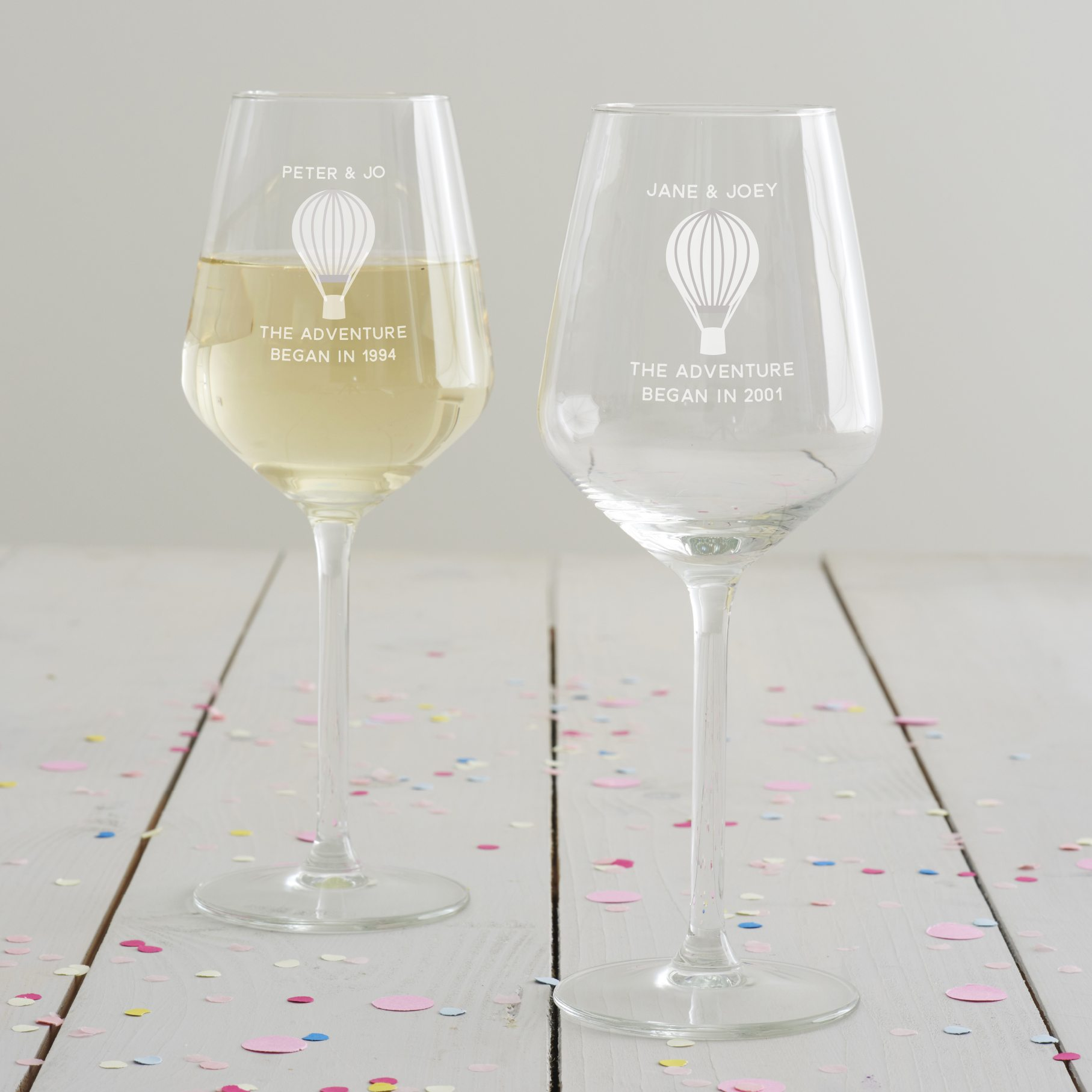 Personalised 'Adventure' Anniversary Wine Glass Set