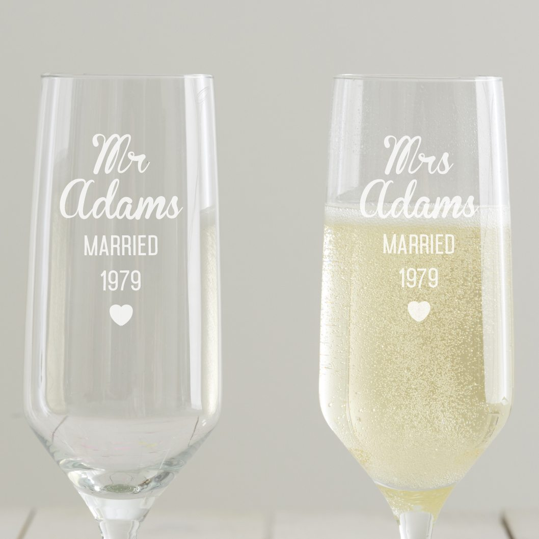 Personalised Anniversary Champagne Flute Set