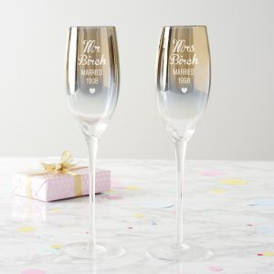 Personalised Anniversary Metallic Champagne Flute Set