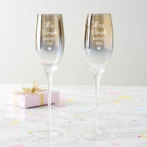 Personalised Anniversary Metallic Champagne Flute Set