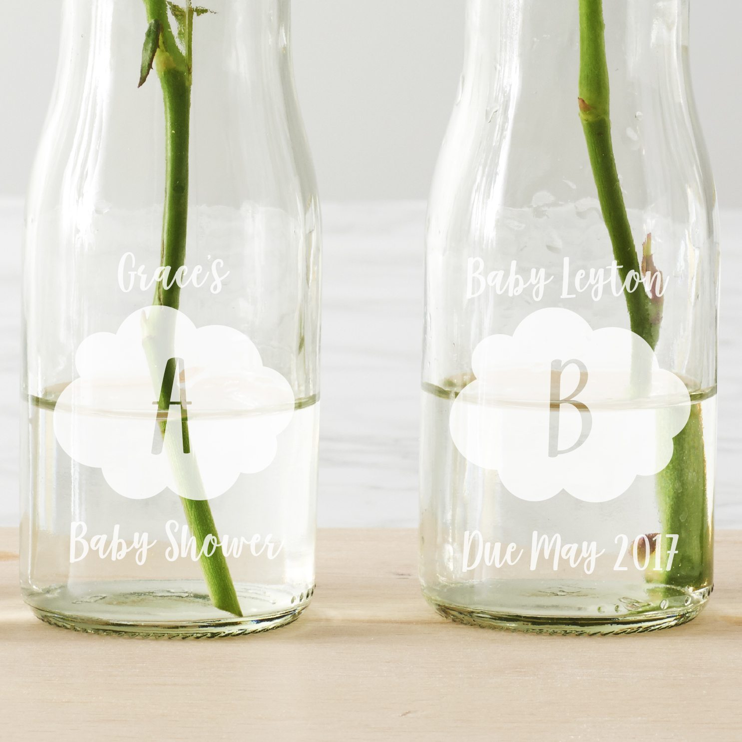 Personalised 'BABY' Cloud Bottle Vases