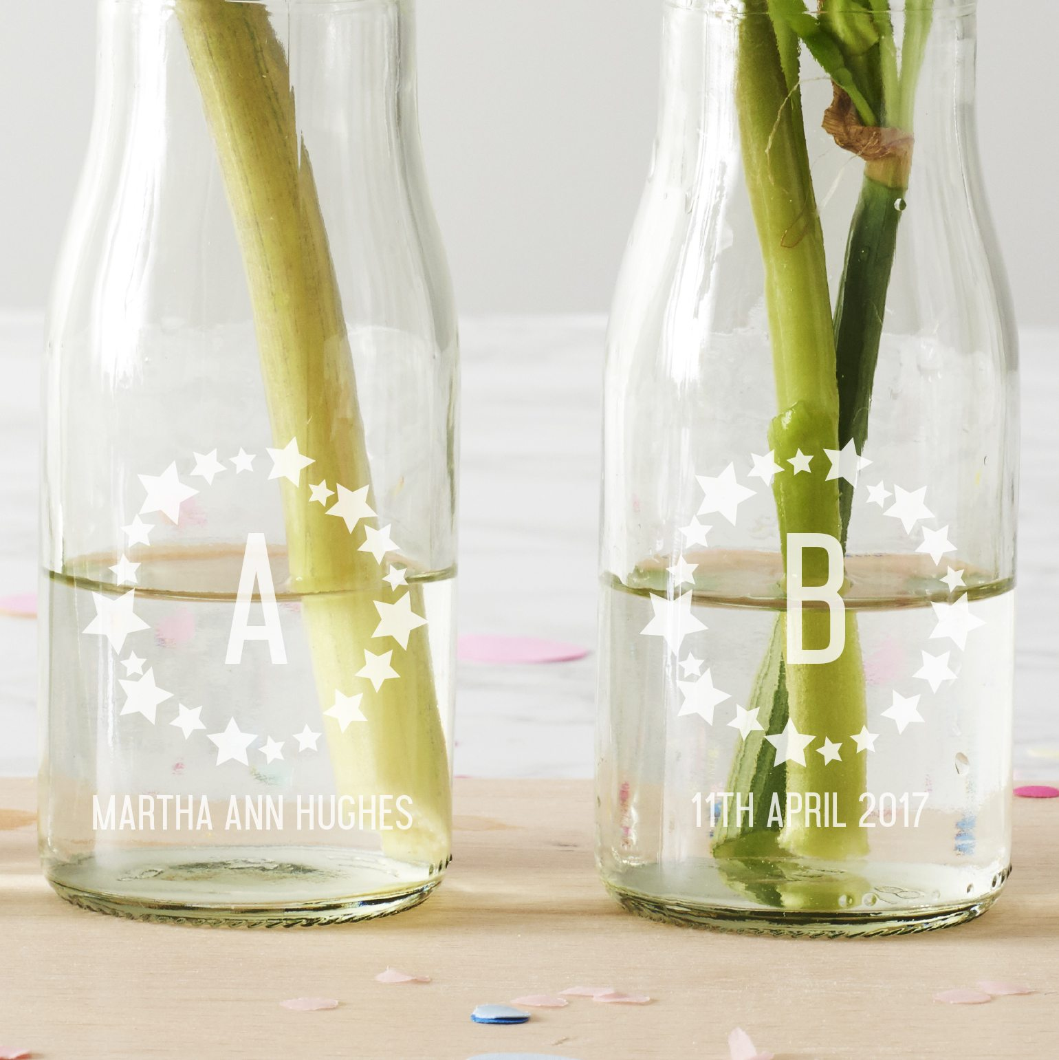 Personalised 'BABY' Star Bottle Vases