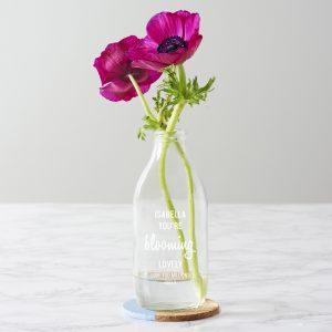 Personalised 'Blooming Lovely' Milk Bottle Vase